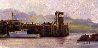 Hazy Day at Monhegan Dock by Richard Yeager
